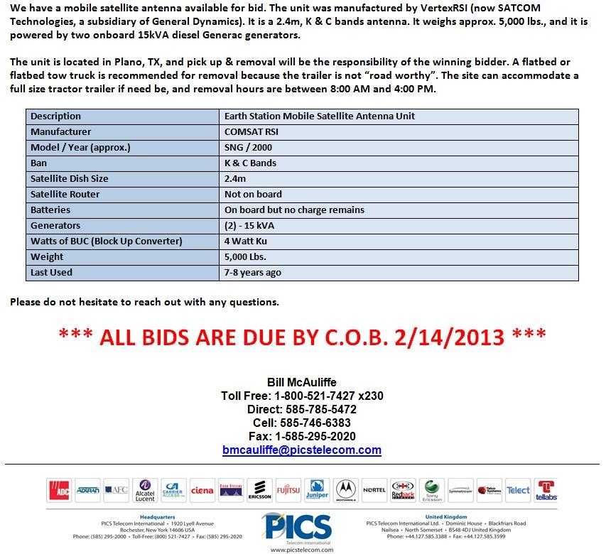 COMSAT RSI Mobile Satellite Antenna For Sale Bottom