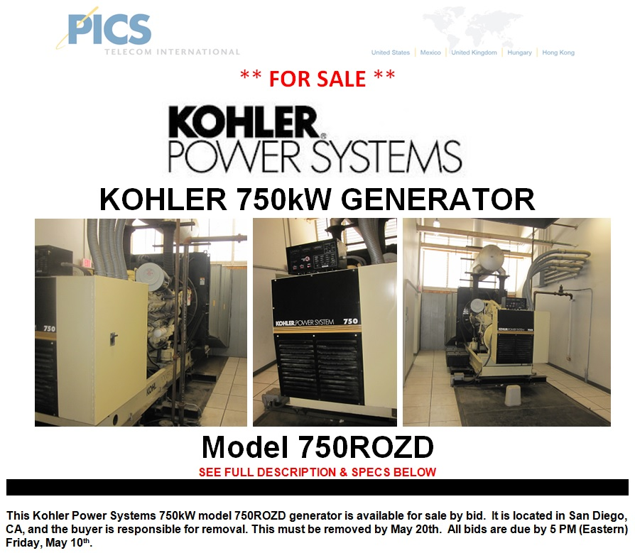 Kohler 750kW Generator Model 750ROZD Available For Sale: Bid Offer ...