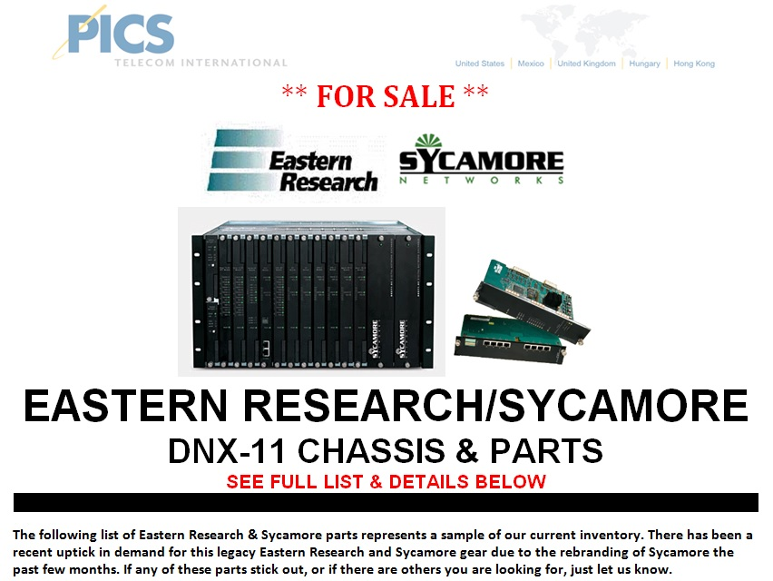 Eastern Research - Sycamore DNX-11 For Sale Top (12.9.13)