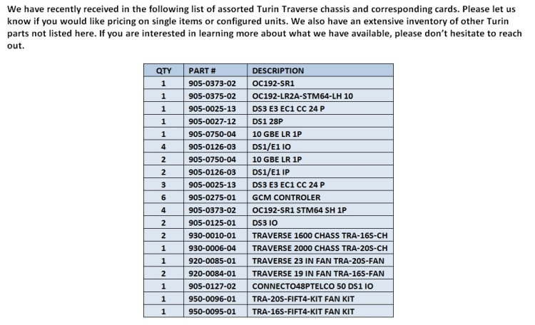 turin traverse chassis  cards for sale  telecomcauliffe