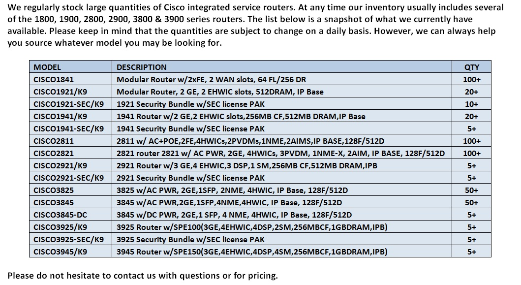 Cisco Integrated Service Routers For Sale Bottom (9.3.14)