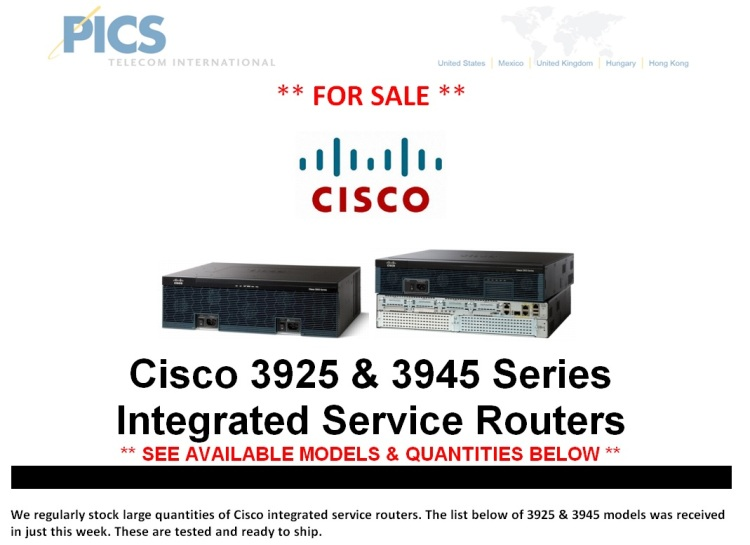 Cisco 3925 & 3945 Routers For Sale Top (10.30.14)