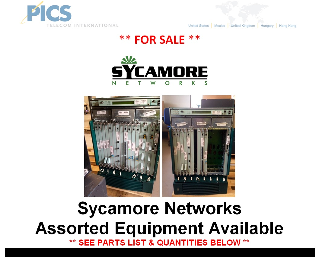 Sycamore Networks Assorted Equipment For Sale Top (10.30.14)