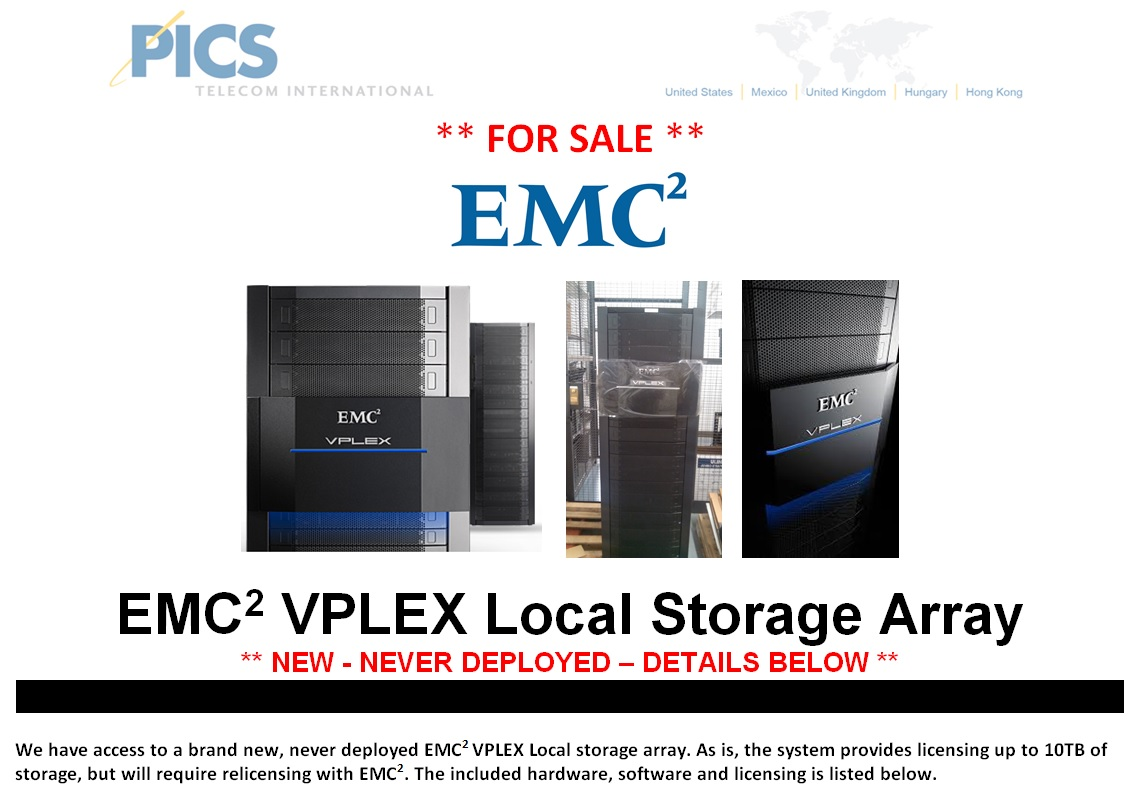 EMC VPLEX Storage Array For Sale Top (11.12.14)