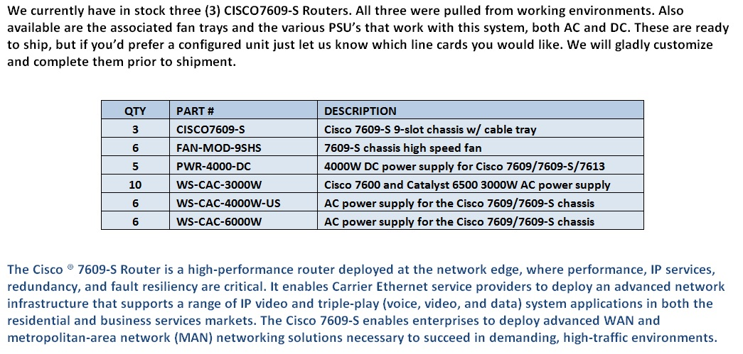 Cisco 7609-S Chassis For Sale Middle (12.5.14)