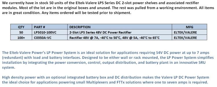 Eltek-Valere LPS Series Rectifiers For Sale Middle (12.5.14)