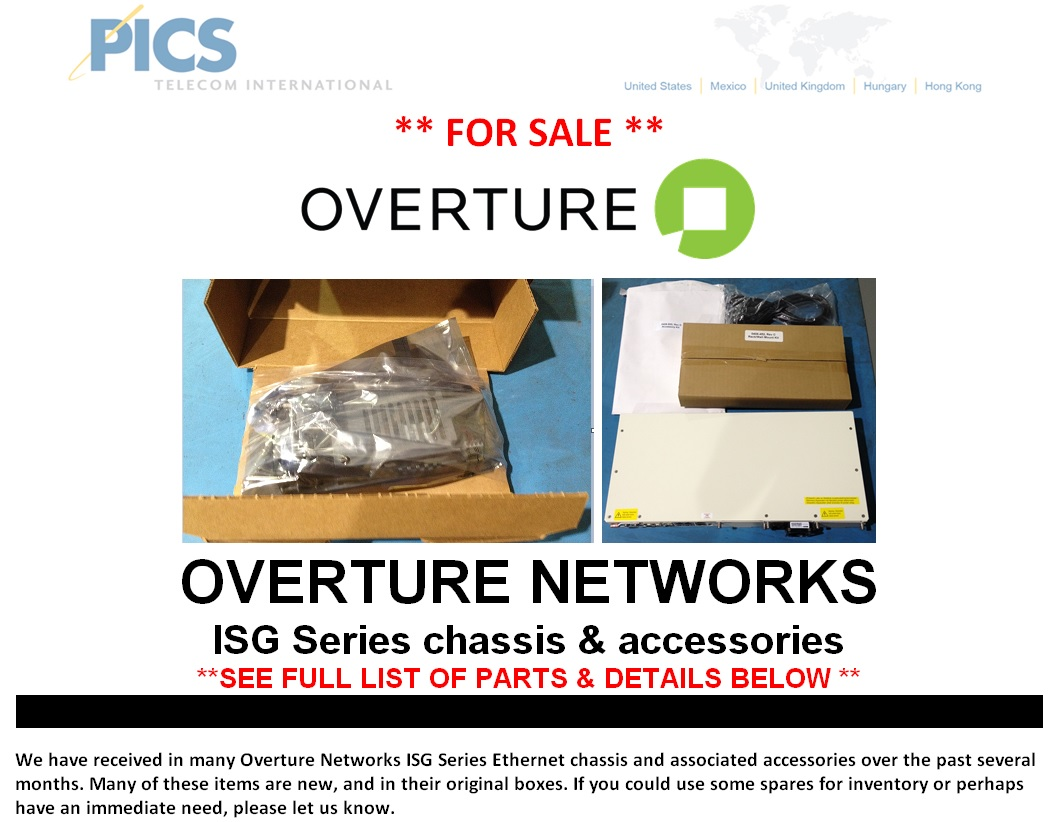 Overture Networks ISG Series Parts For Sale Top (12.16.14)