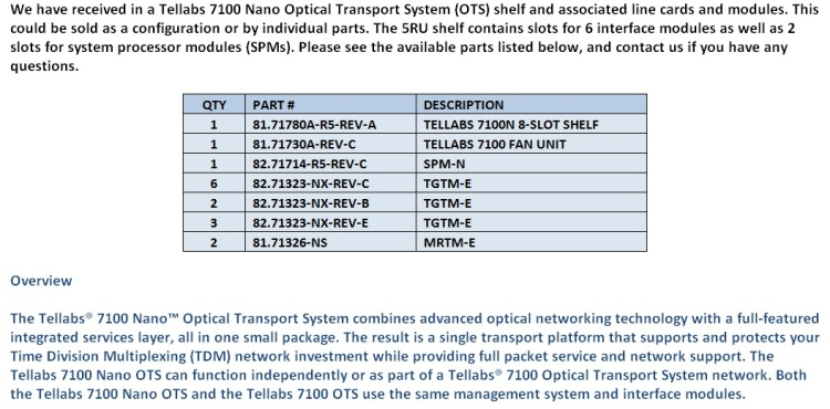 Tellabs 7100 Nano OTS For Sale Middle (12.5.14)