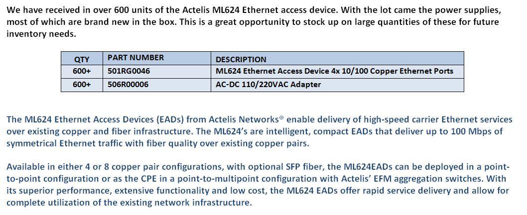 Actelis ML624 EAD For Sale Middle (1.6.15)