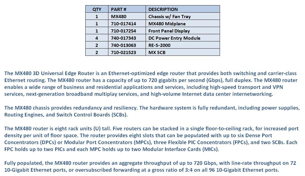 Juniper MX480 For Sale Bottom (1.6.15)