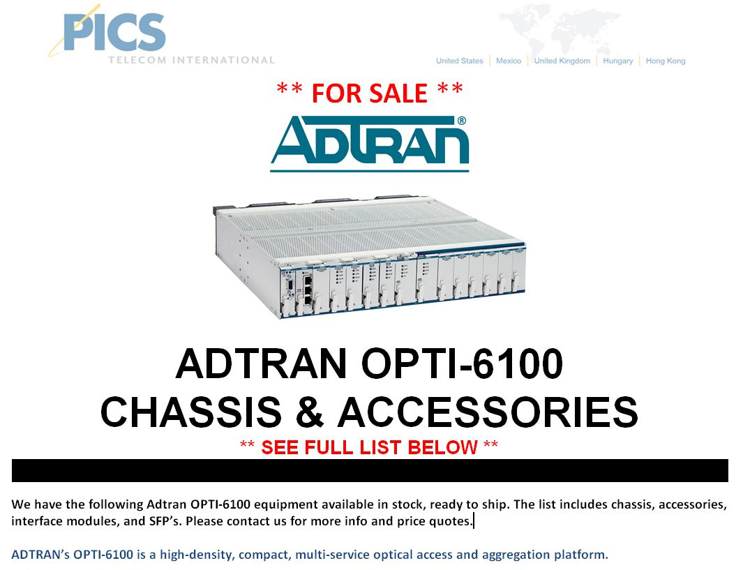 Adtran OPTI-6100 Equipment For Sale Top (4.3.15)