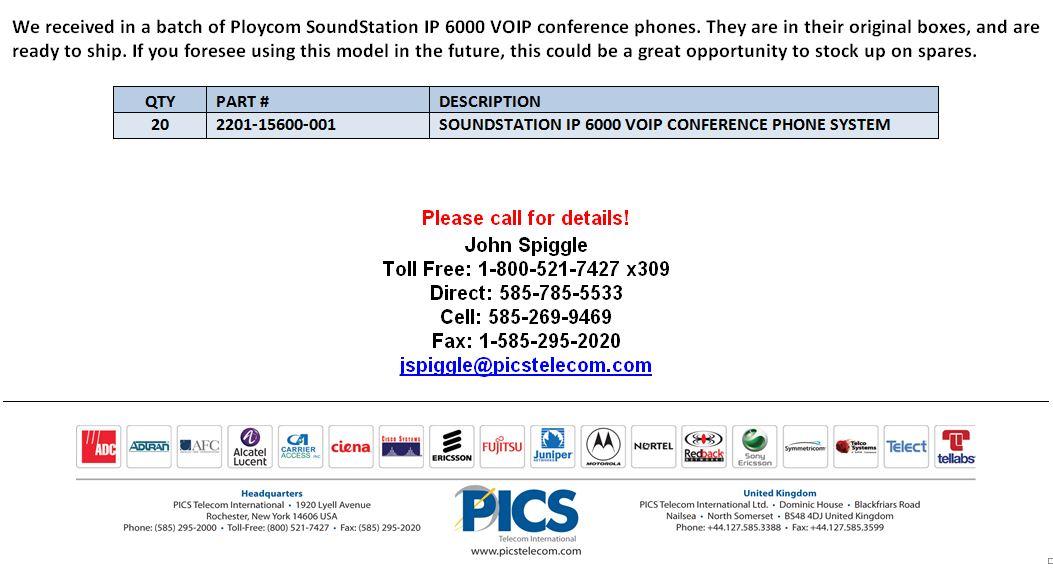 Polycom SoundStation IP 6000 Phones For Sale Bottom (4.24.15)