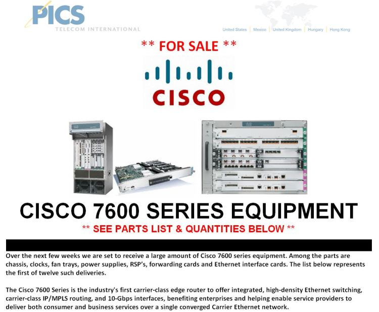 Cisco 7600 Series Equipment For Sale Top (5.7.15)