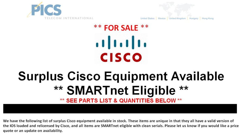 Cisco Surplus Equipment For Sale Top (6.23.15)