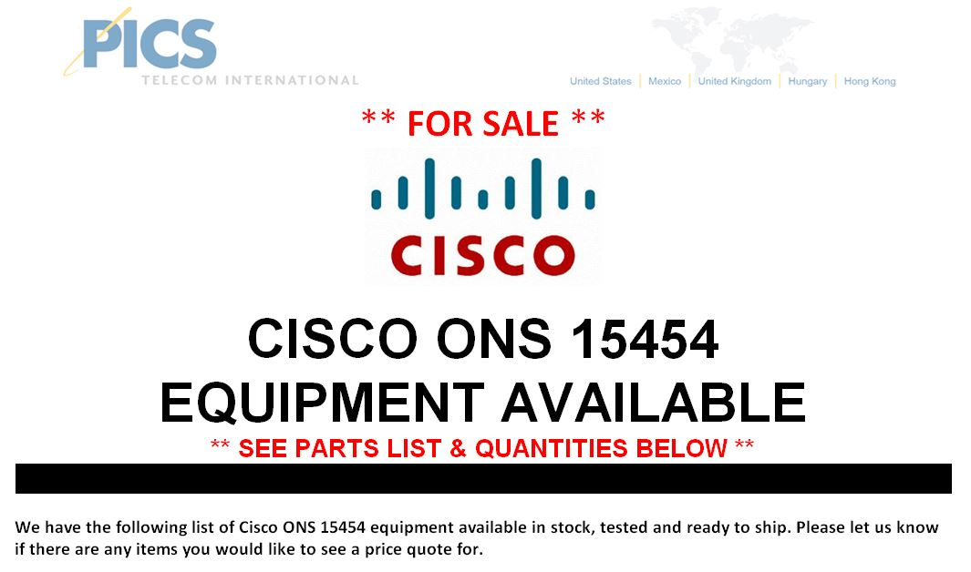Cisco ONS 15454 Equipment For Sale Top (7.1.15)
