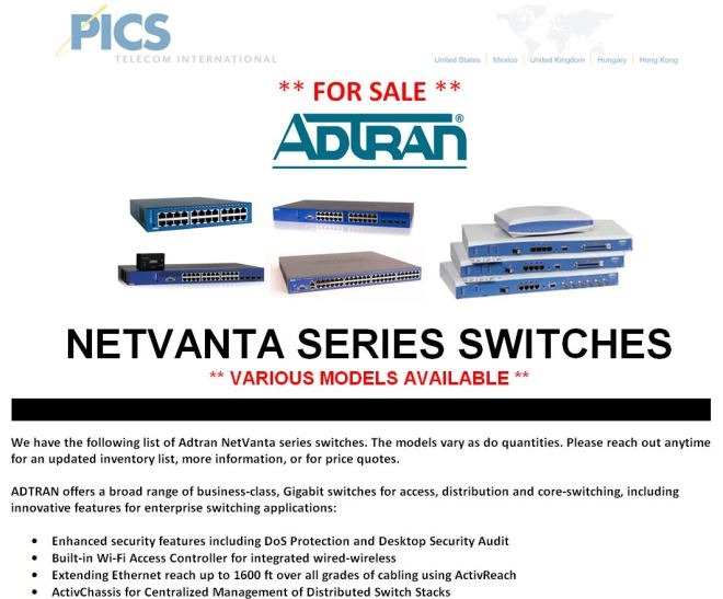 Adtran NetVanta Switches For Sale Top (8.7.15)