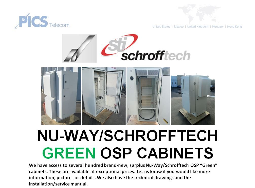NuWay-Schrofftech Green OSP Cabinets For Sale Top (8.26.15)
