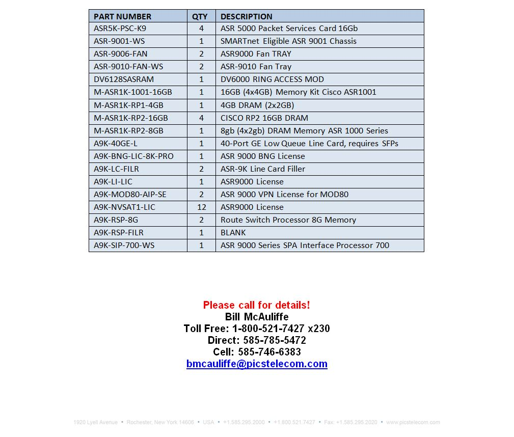 Cisco ASR Series Equipment For Sale Bottom (9.15.15)