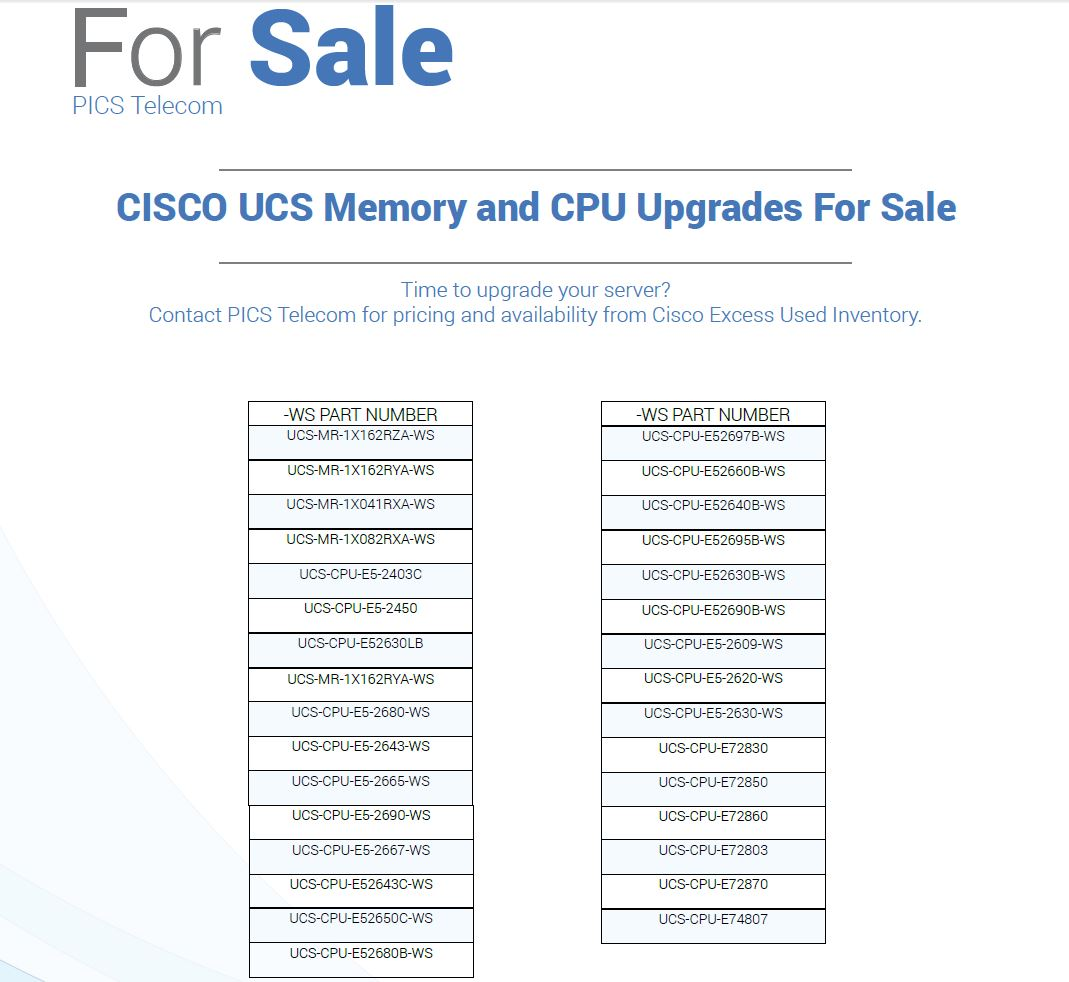 Cisco UCS Memory & CPU For Sale Top (9.15.15)
