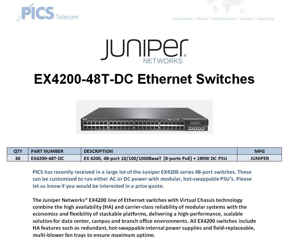 Juniper EX4200-48T-DC For Sale Top (10.7.15)