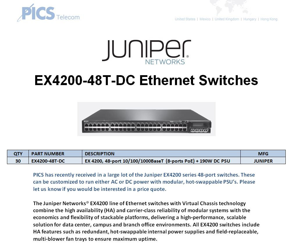 Juniper EX4200-48T-DC For Sale Top (10.7.15)