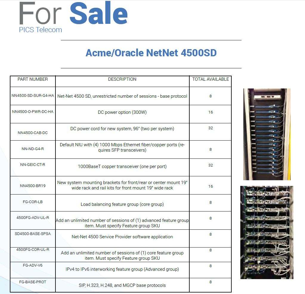 Acme-Oracle NetNet 4500SD Servers For Sale Top (11.9.15)