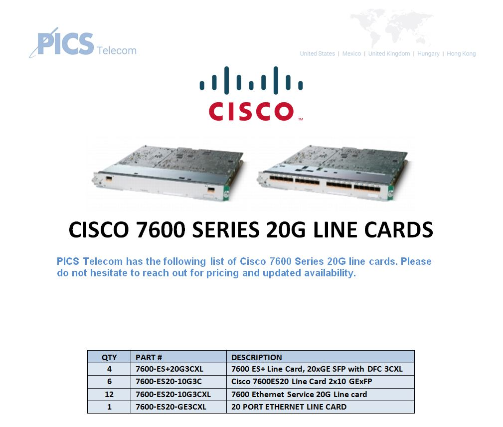 Cisco 7600 Series 20G Line Cards For Sale Top (2.9.16)