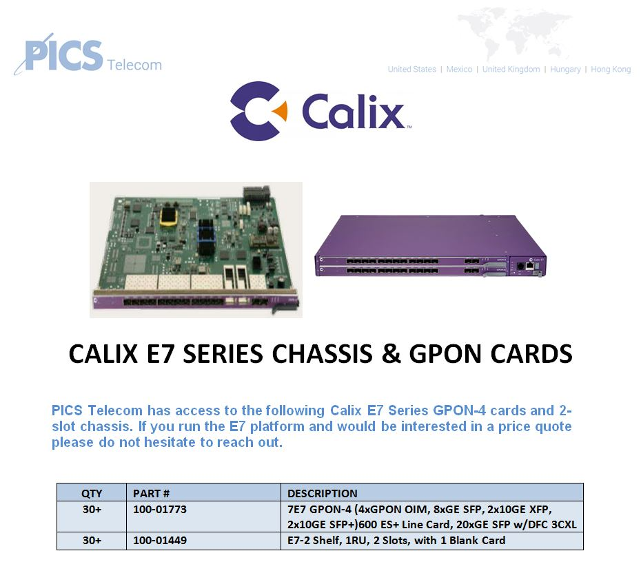 Calix E7 GPON-4 Cards & Chassis For Sale Body (3.28.16)
