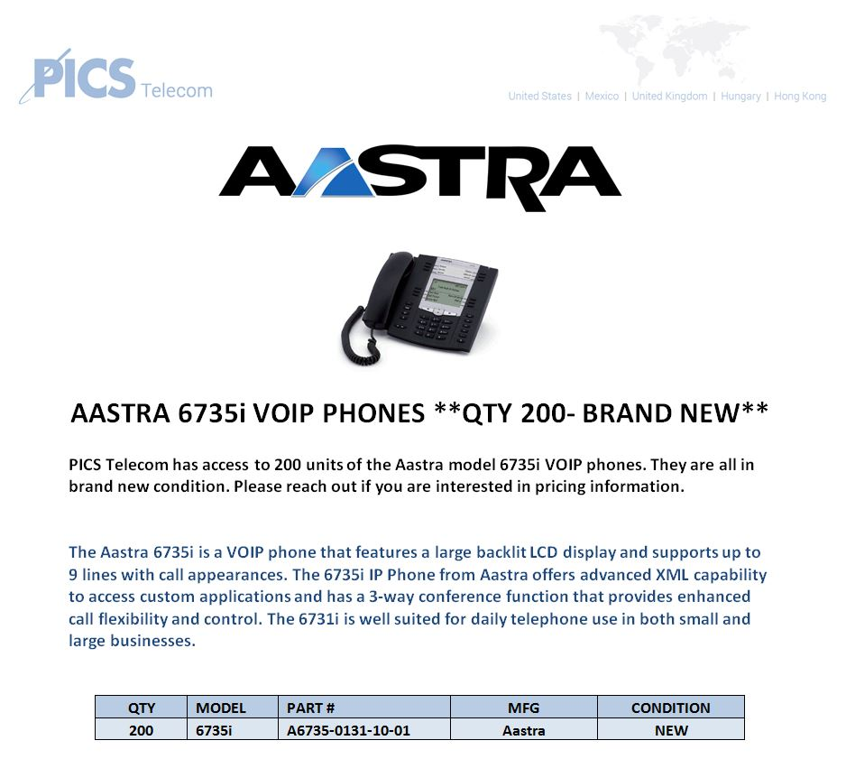 Aastra 6735i VOIP Phones For Sale (4.26.16)