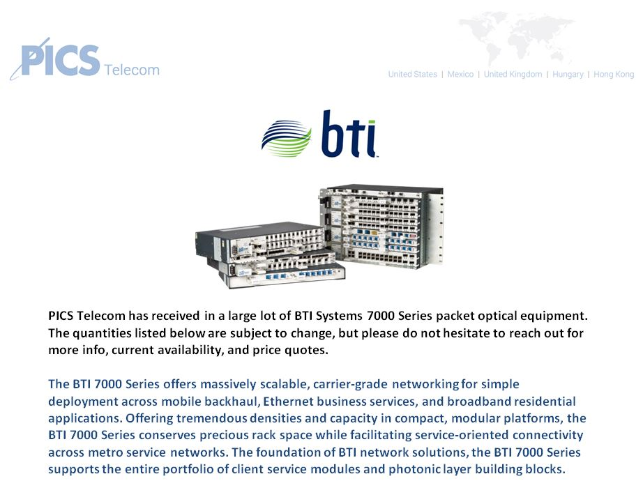 BTI Systems Equipment For Sale Top 1 (4.26.16)