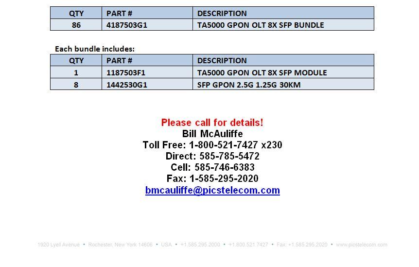 Adtran TA5000 GPON SFP Bundles For Sale Bottom (6.27.16)