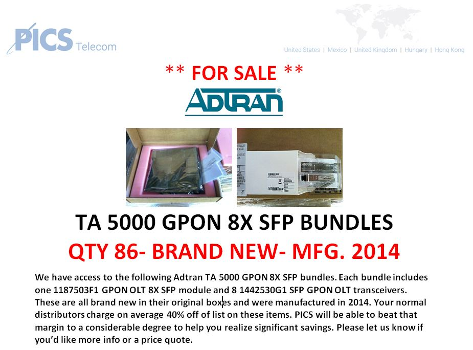 Adtran TA5000 GPON SFP Bundles For Sale Top (6.27.16)